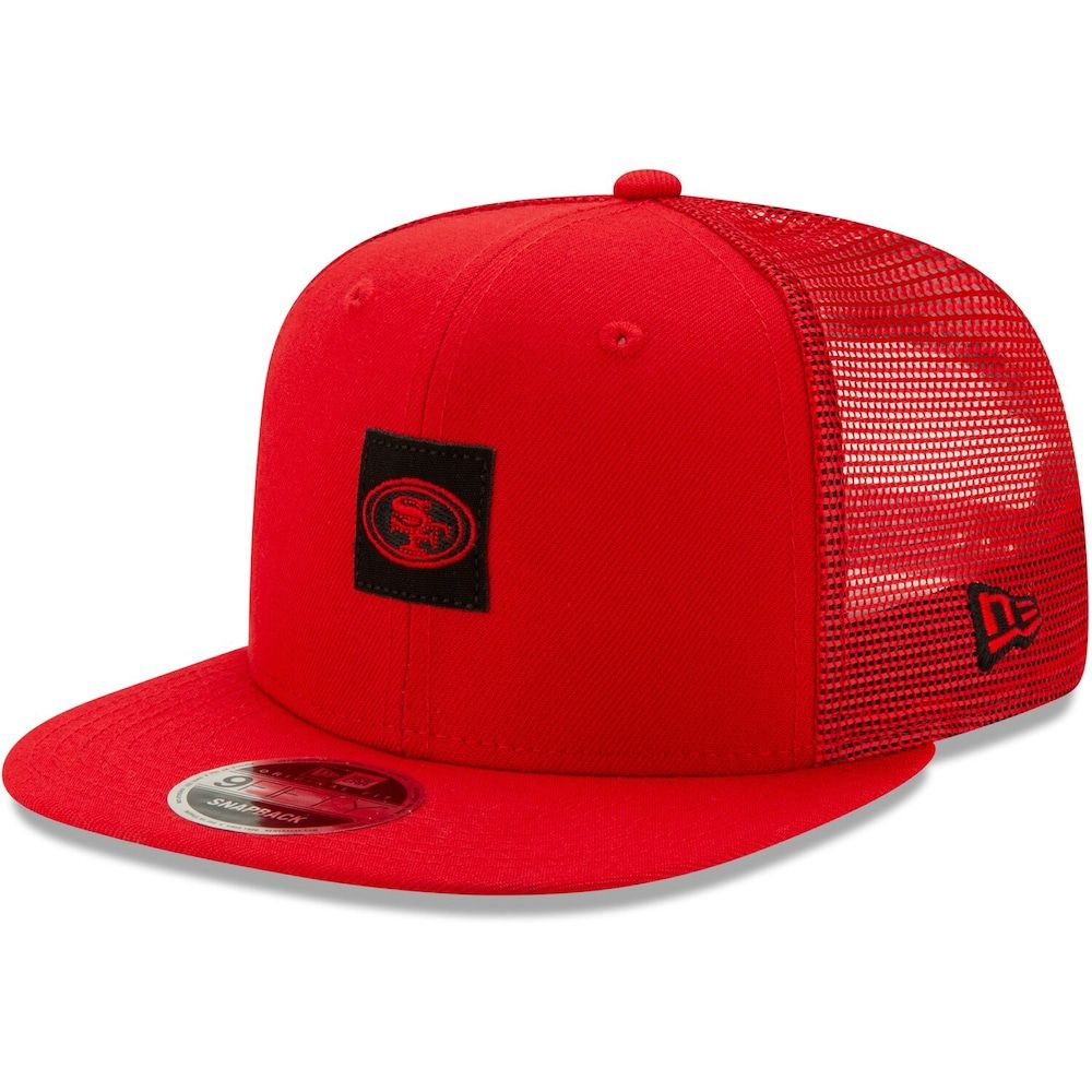 separation shoes large discount sells Men's New Era Scarlet San Francisco 49ers Shanahan Square Trucker ...