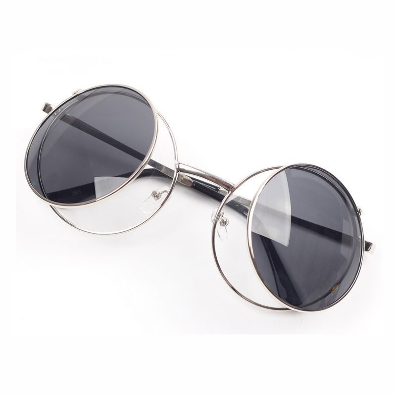 03d6d7e453 Mouse Style Round Circular Silver Metal Flip Up Sunglasses Gray ...