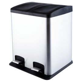 Stainless Steel 24l 2 Section Recycling Pedal Bin Tesco Direct