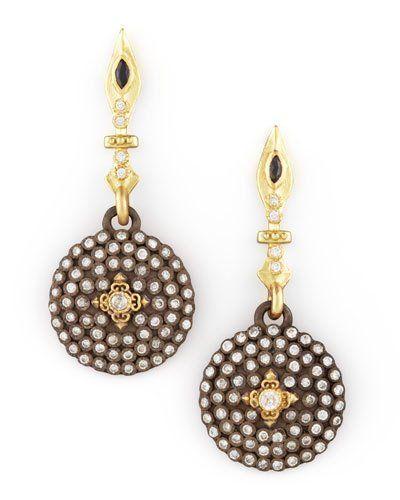 Small Pave Diamond Shield Drop Earrings