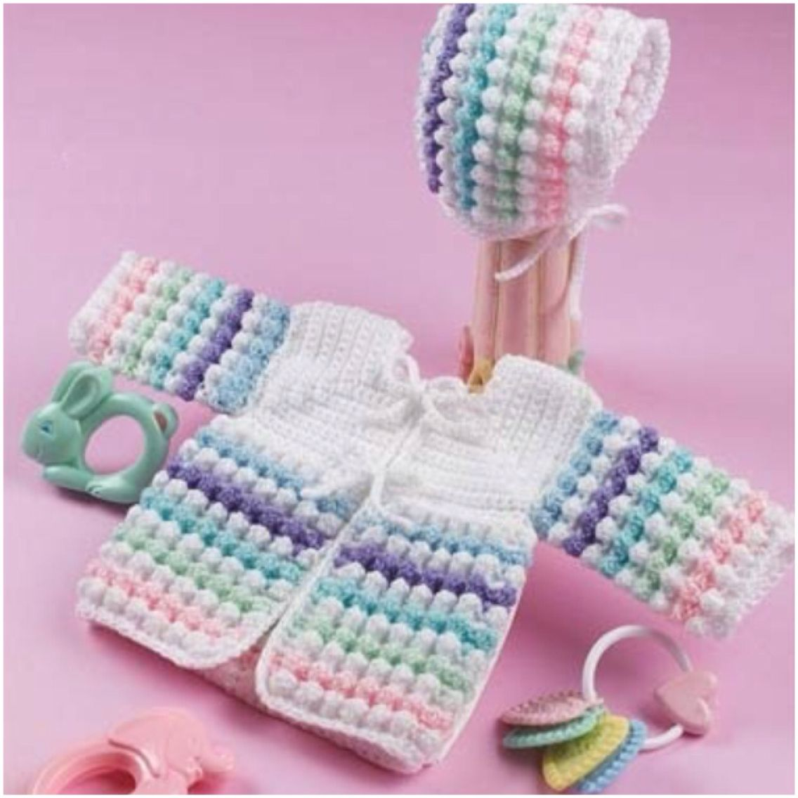 Baby jacket and hat tiny bubbles baby blankets pinterest bubbles sweater n bonnet free crochet pattern adorable bankloansurffo Image collections