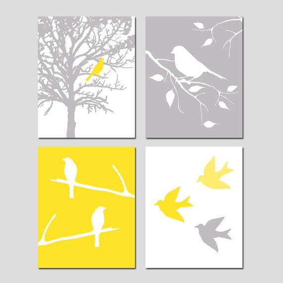 Bird Decor Set of 4 Prints Bird Wall Art Yellow and Grey Bedroom Art ...
