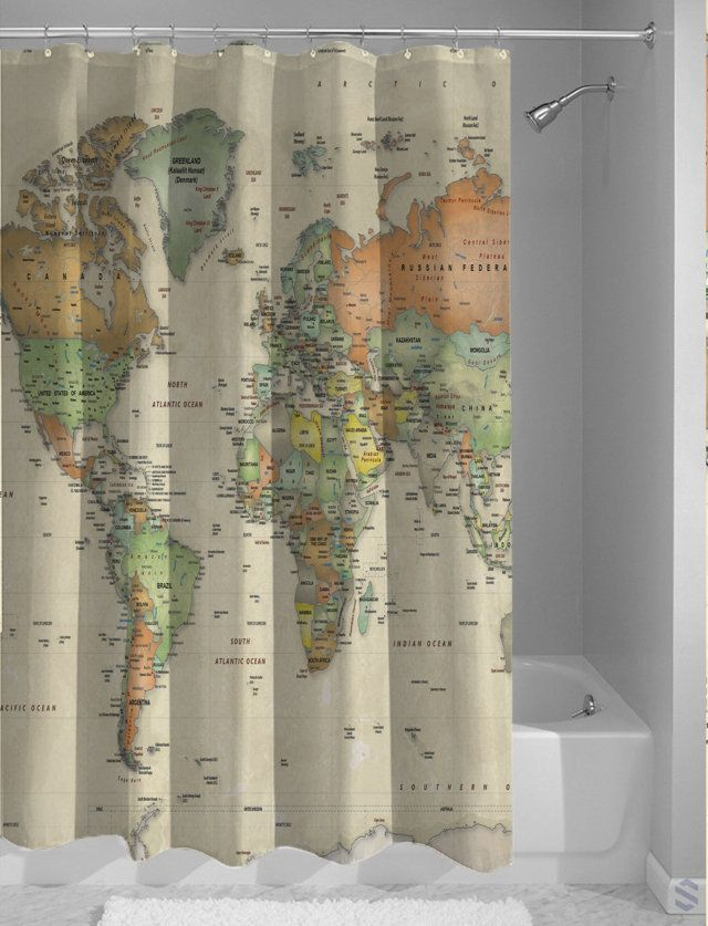 World Map Custom Design Shower Curtain