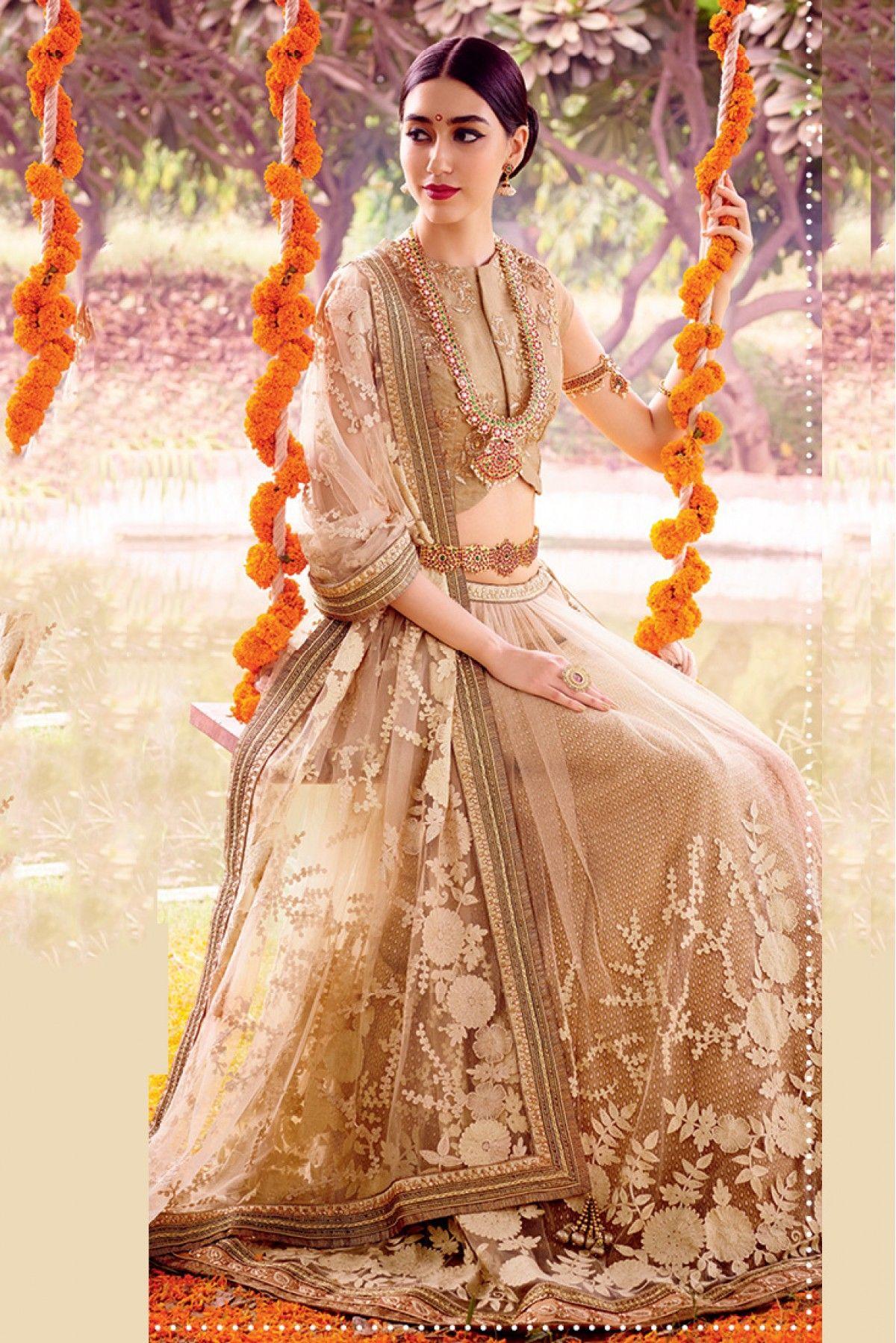 Net Semi Stitched A-Line Lehenga Choli In Cream and Beige Colour
