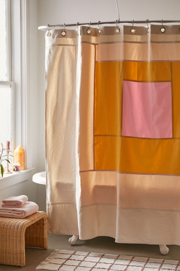 Quiet Town Marfa Colorblock Shower Curtain In 2020 Color Block