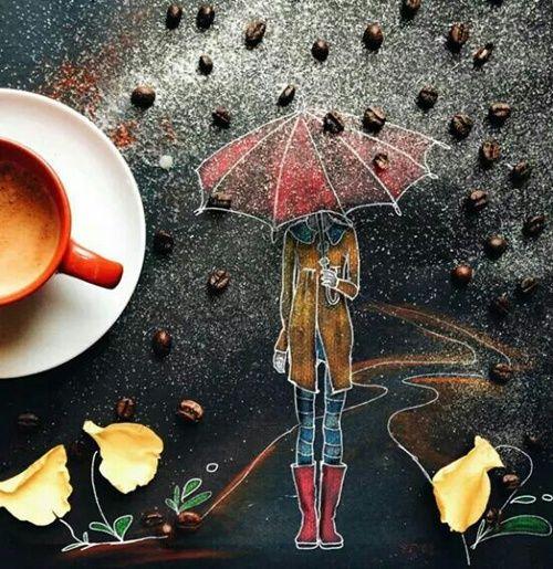 Días donde la lluvia y el café te endulzan la mañana... #coffeeart