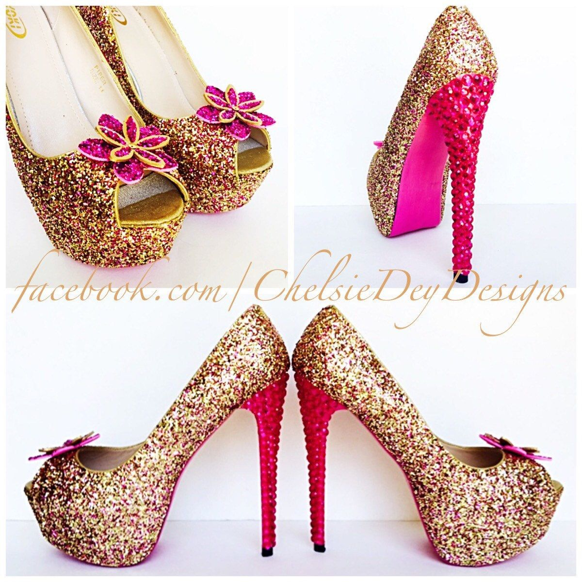 294c5415159 Glitter High Heels - Hot Pink Peep Toe Pumps - Pink and Gold Open ...