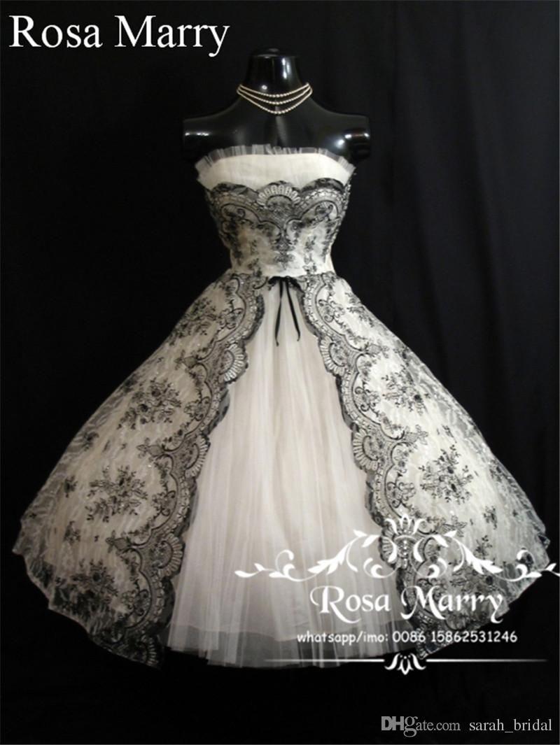 Discount Gothic 1950s Black White Short Wedding Dresses 2017 A Line Strapless Plus Size Lace C Short Wedding Dress Short White Dress Wedding Tea Length Dresses