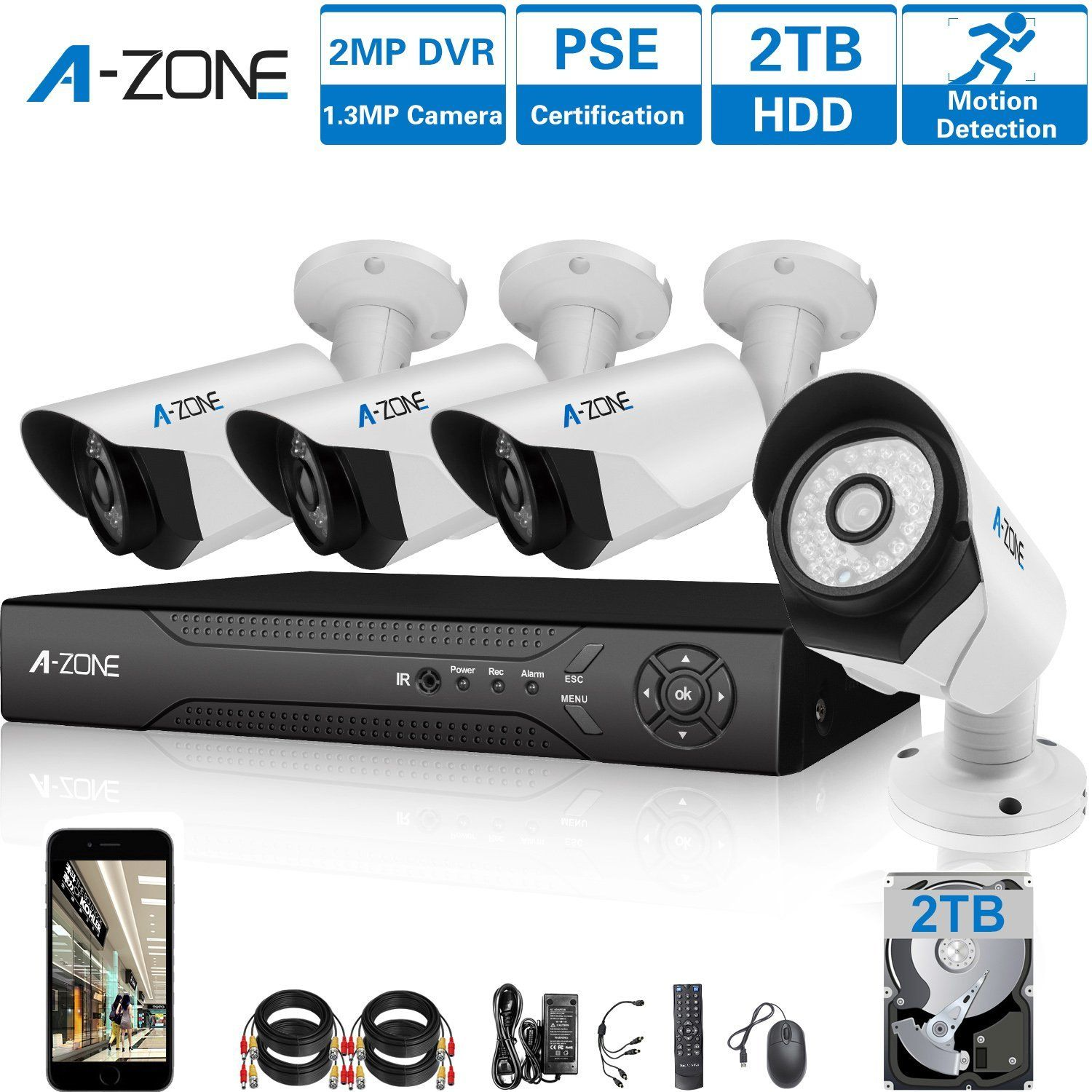 Short but helpful! A-ZONE 4 Channel 1080P AHD Home Security ...