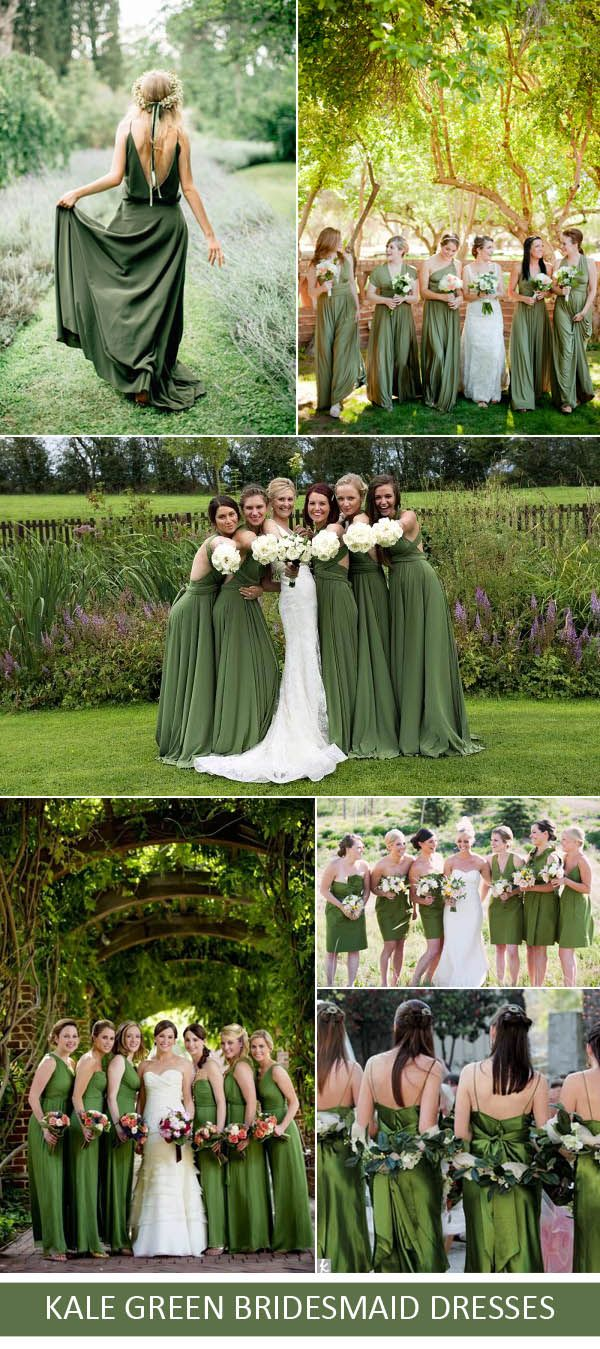 Kale green wedding color ideas for 2017 spring summer for Forest green wedding dress