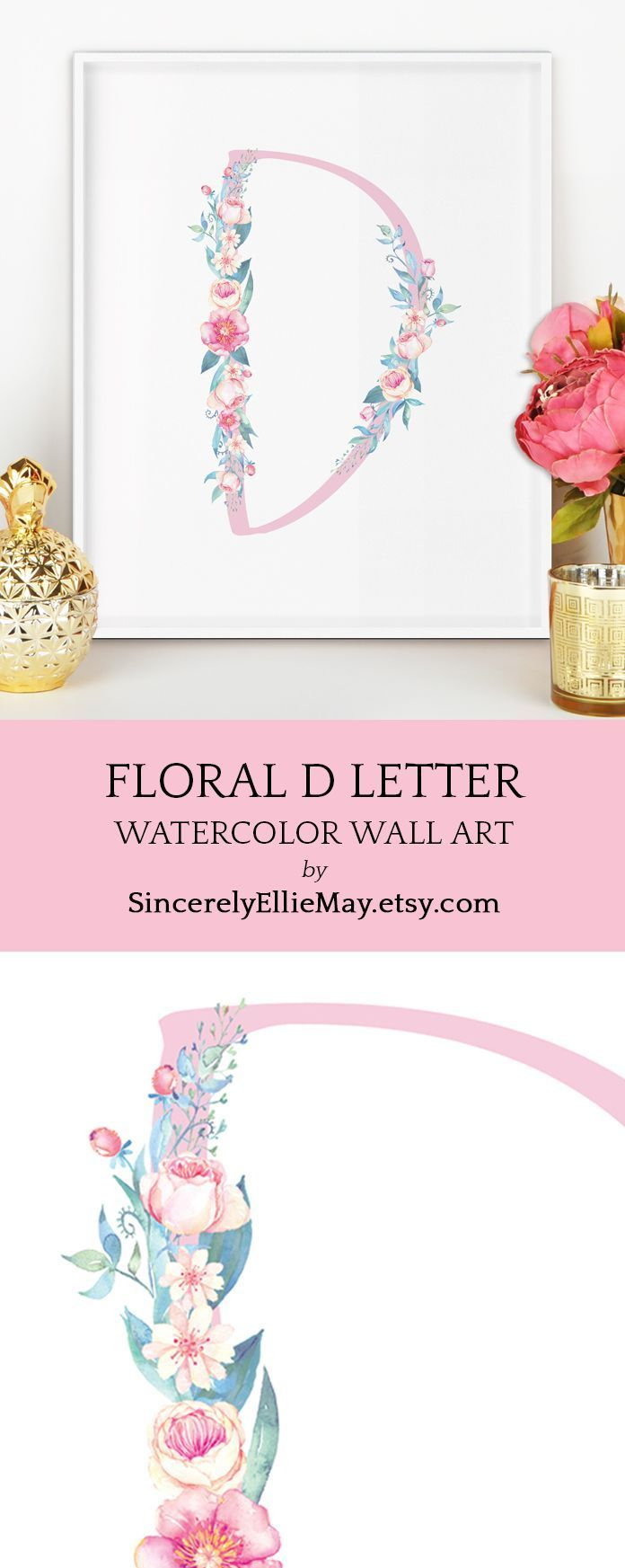 Beautiful floral letter D, perfect to decorate the nursery, play ...