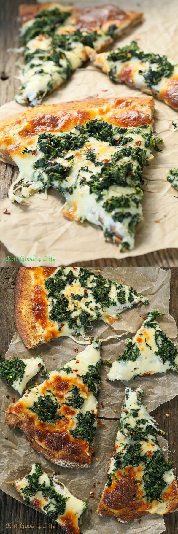 4 heads Garlic. 1 Pepper flakes. 2 Pizza dough, whole wheat. 4 tsp Olive oil. 32 oz Mozzarella cheese, part skim. 16 oz Ricotta cheese. 20 oz Cascadian farm frozen spinach, thawed and liquid squeezed.
