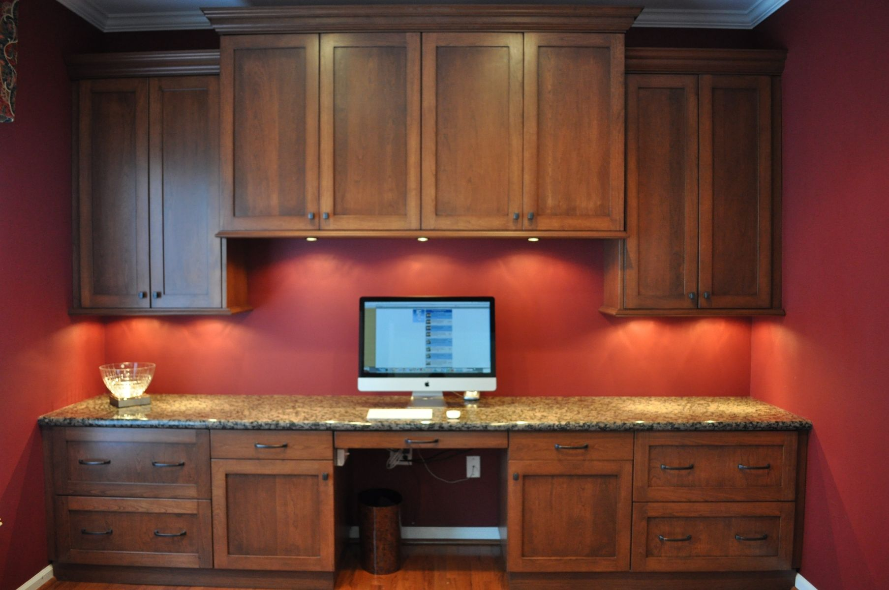 Custom Built Office Desk Desk Unit For A Home Office With A Granite Counter Top In 2020 Cheap Countertops Diy Countertops Custom Countertops
