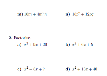 Factorisation worksheet (with solutions): A worksheet on factorising ...