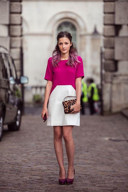Hello little leopard bag! You make that colour-block dress even more exceptional.