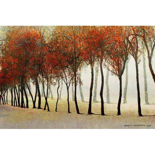 Leinwandbild Row of Trees Red von Chris Vest East Urban Home Größe 102 cm H x 152 cm B