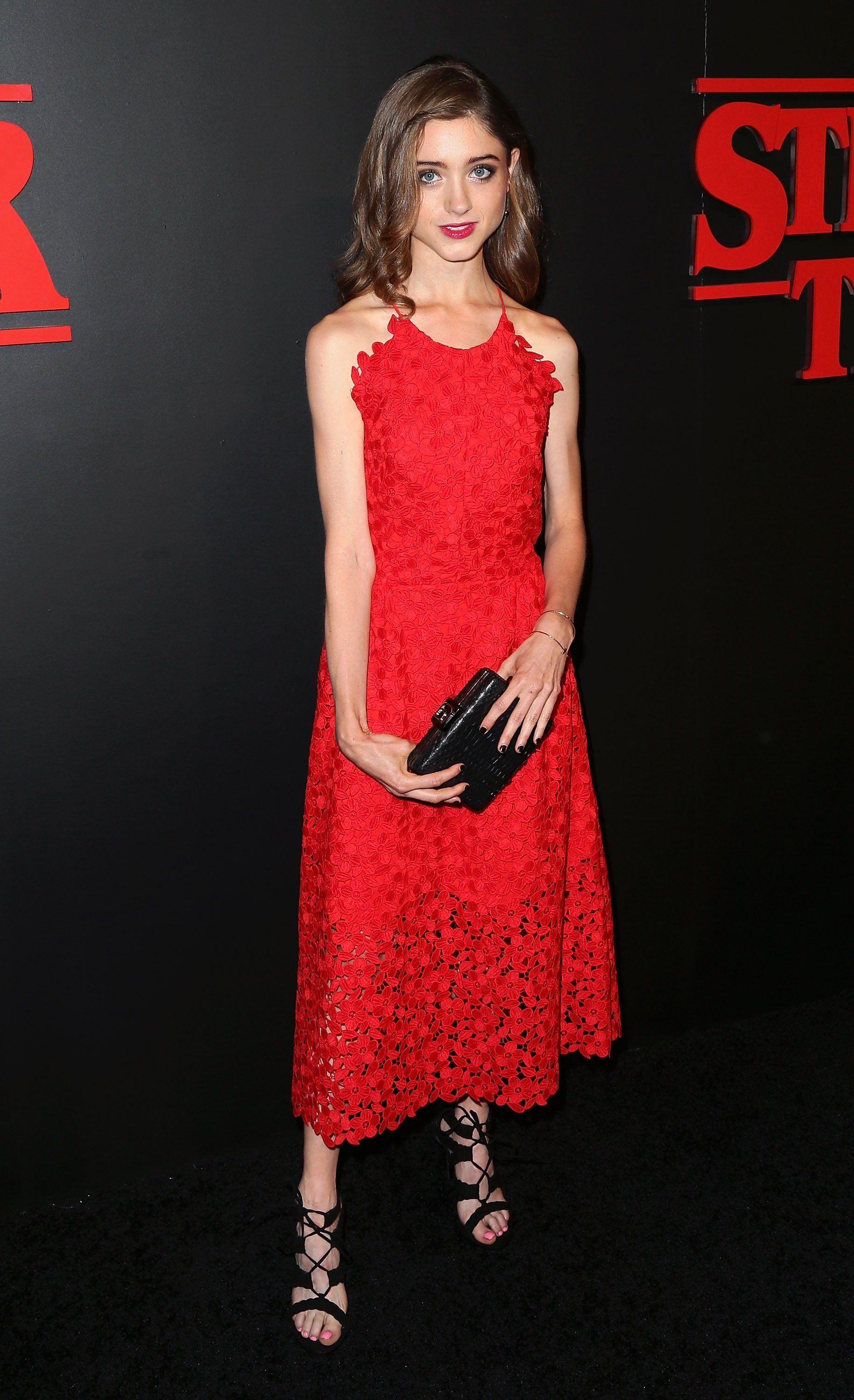 Natalia Pulled Off a Red Floral Midi With Caged Sandals | elegance