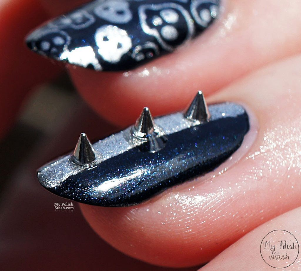 Httpmypolishstash201505studded Biker Nail Designml