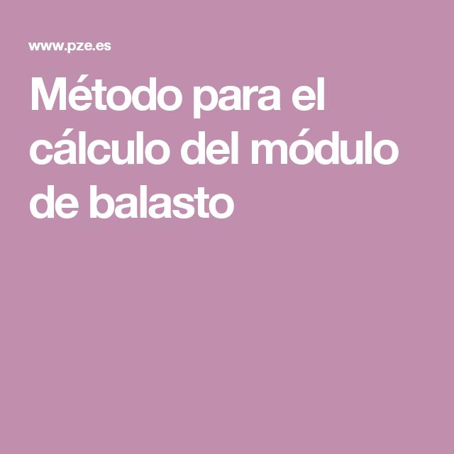 Método Para El Cálculo Del Módulo De Balasto Obra Civil