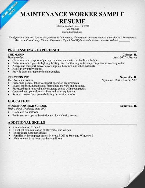 Maintenance Worker Resume Sample (resumecompanion) Resume - culinary resume templates