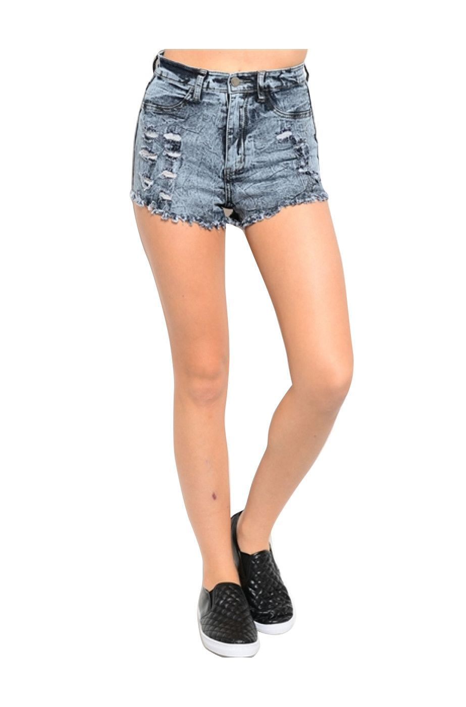 High Waisted Cutoff Distressed Denim Shorts