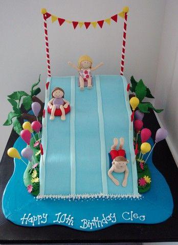 Water Park Cake Pool Cake Waterslide Cake Themed Cakes
