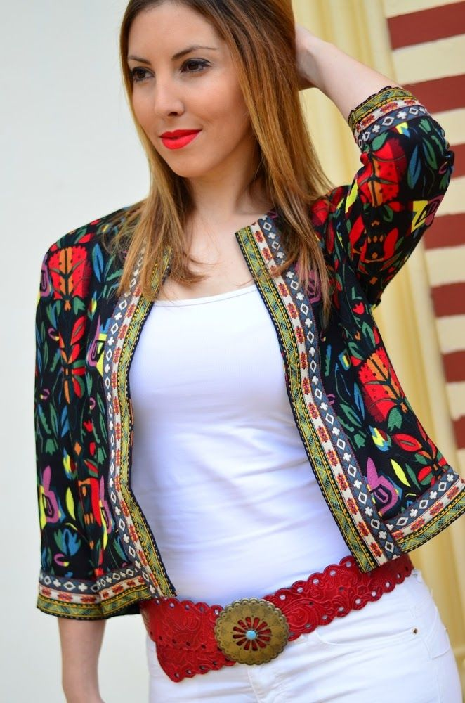 Vintage Ethnic Floral Print Embroidery Slim Jacket