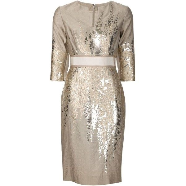 Carolina Herrera belted metallic floral print dress (52.643.675 IDR) ❤ liked on Polyvore featuring dresses, carolina herrera, brown dress, floral dress, metallic dress and botanical dress