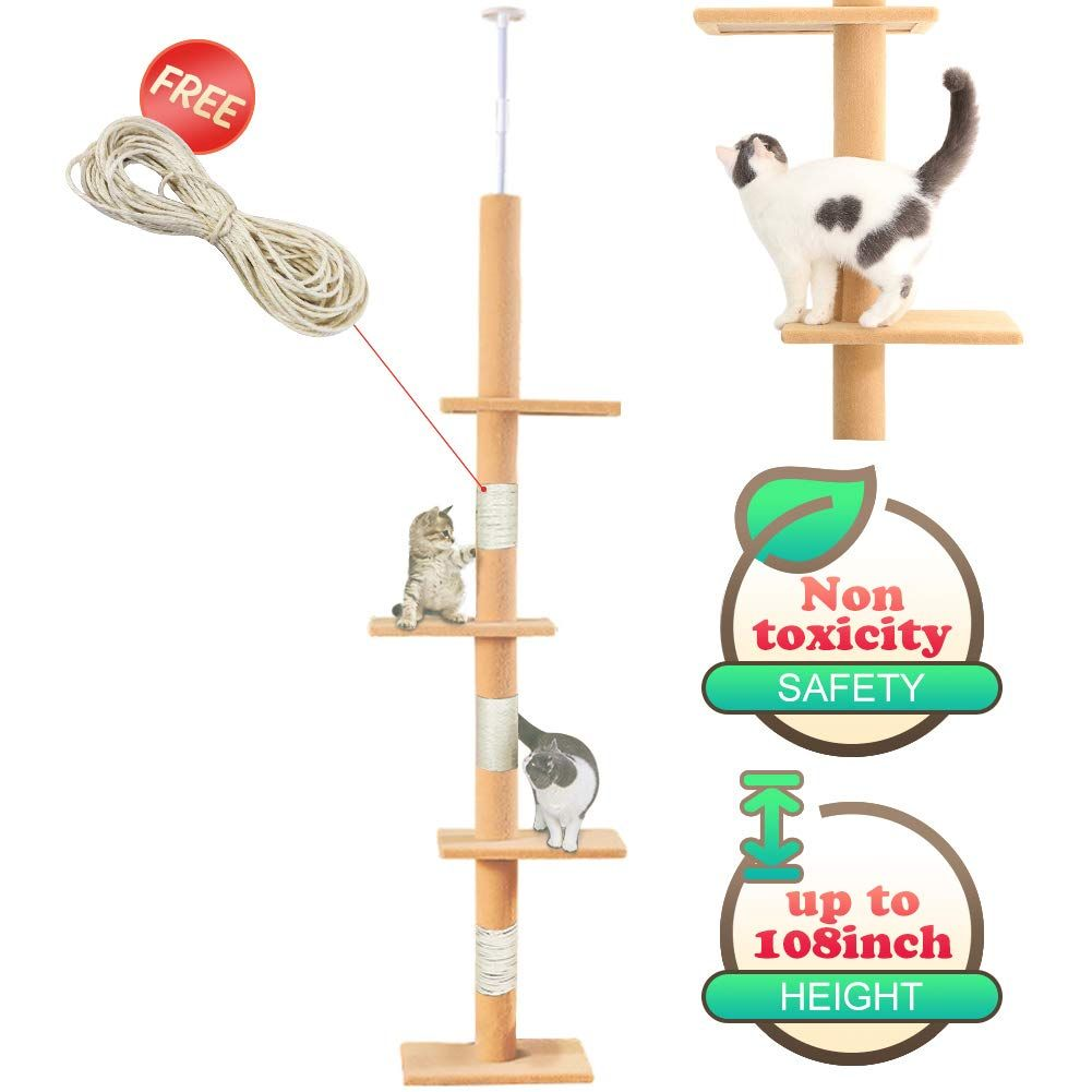 108 Tall Cat Tree House Activity Towers Scratching Post Condos Climbing Tiger Tough Kitten Furniture With Sisal Rope Cat Tree House Cat Tree Kitten Furniture