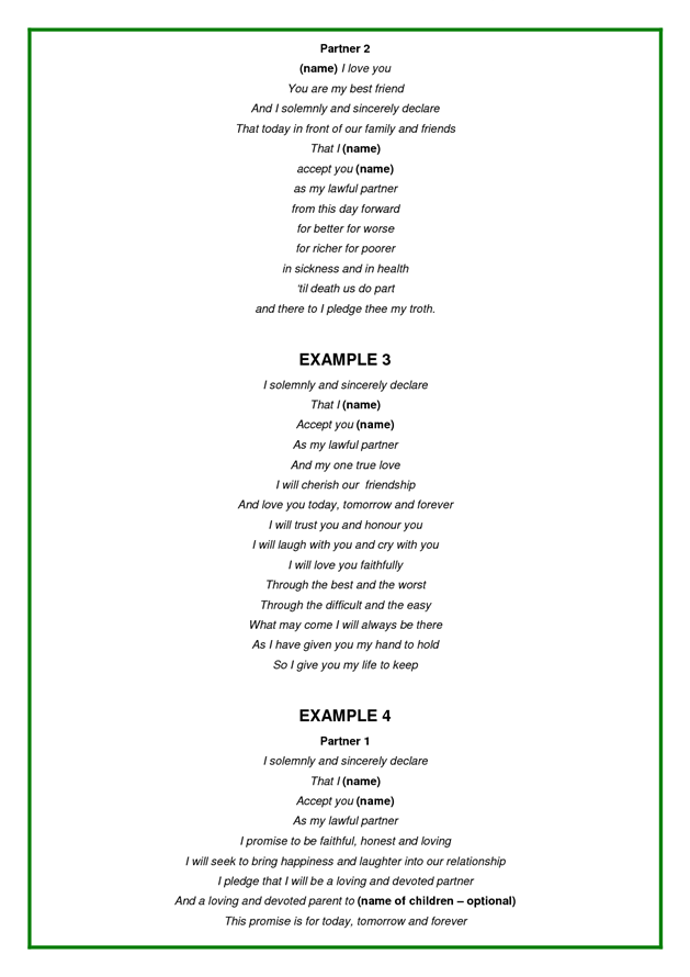 Examples of wedding vows wedding pinterest wedding for Vow writing template