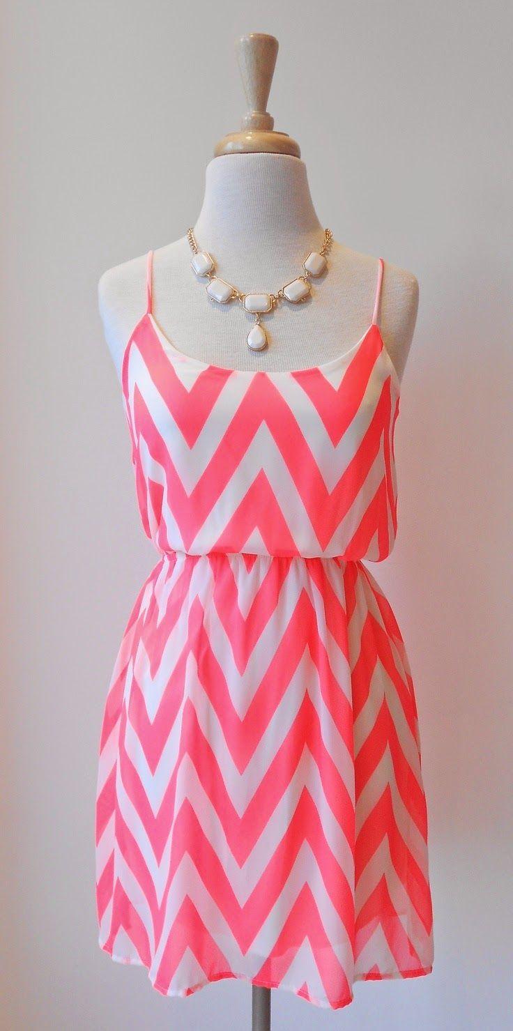 Beautiful neon pink chevron sleeveless mini dress with cute white ...