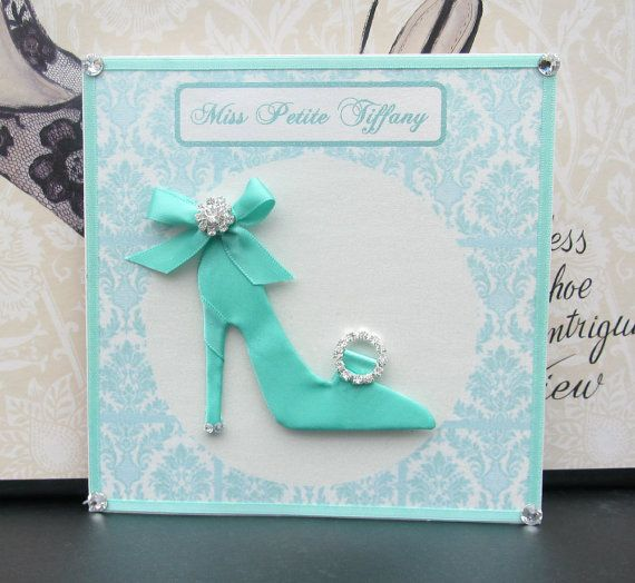 Miss Petite Tiffany Shoe Personalized Card 140mm By Bsylvar 18 00 Birthday Cards For Women Beautiful Handmade Cards Card Craft