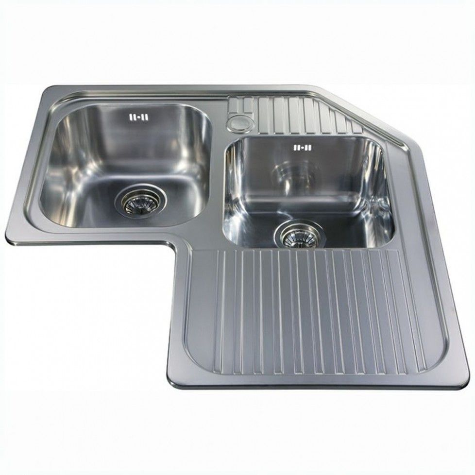 Corner Double Bowl Sink Right Hand Drainer Stainless Steel