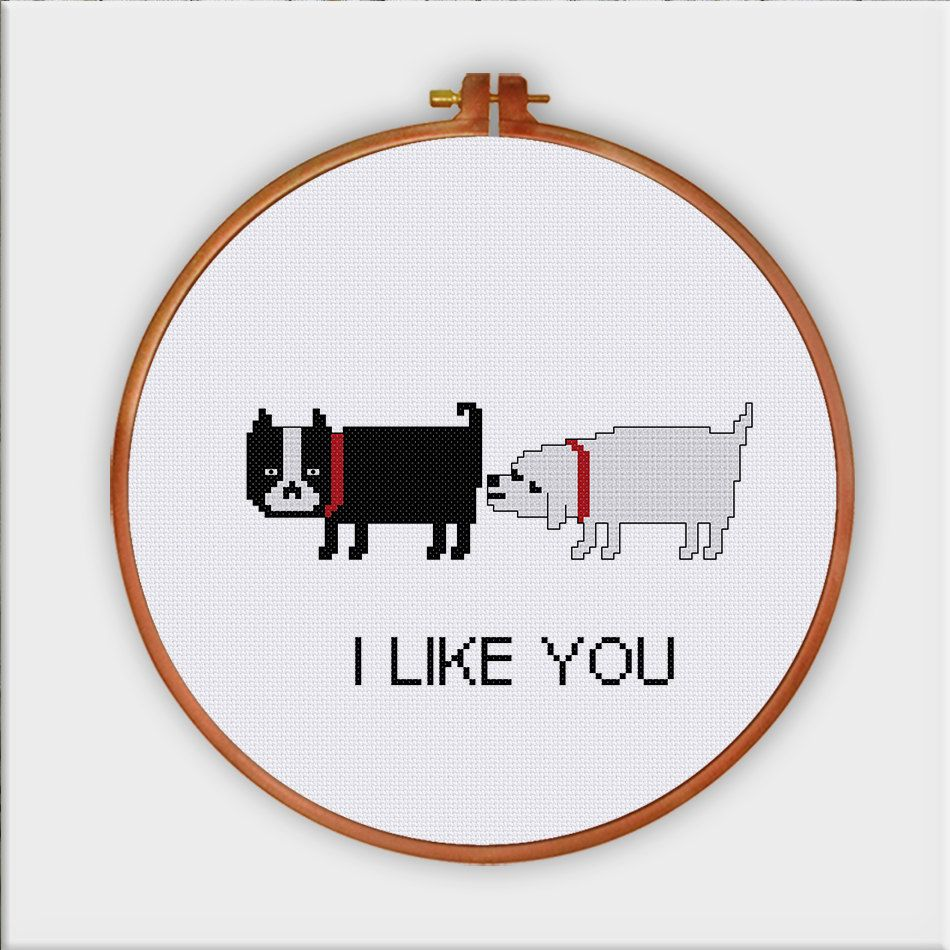 Funny Dog Love cute dog counted cross stitch от ThuHaDesign