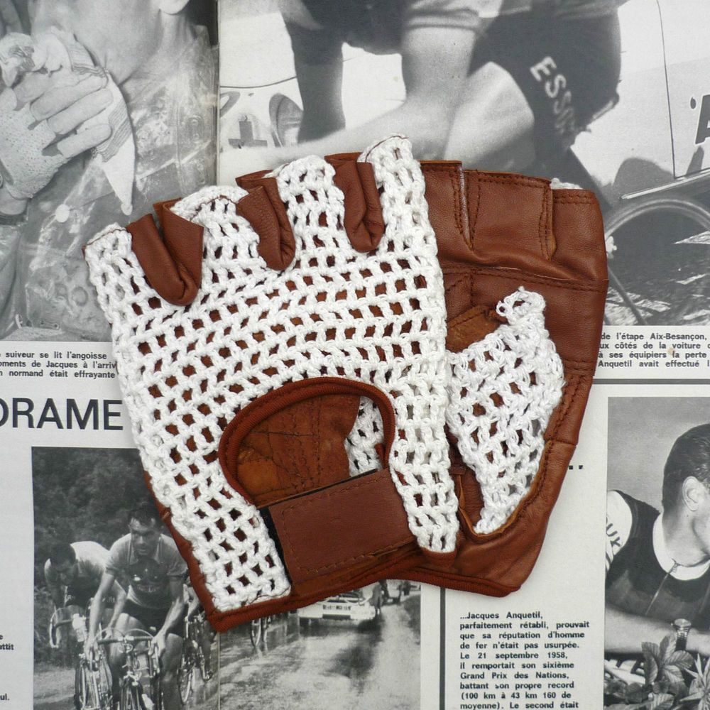 Vintage Bicycle Gloves Leather Crochet Cycling
