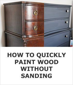 How To Quickly Paint Kitchen Cabinets Without Sanding - Repainting furniture, Refinishing furniture, Repaint wood furniture, Sanding wood, Painting over stained wood, Paint stained wood - This simple trick prepares kitchens cabinets, wood trim, or furniture for paint in minutes