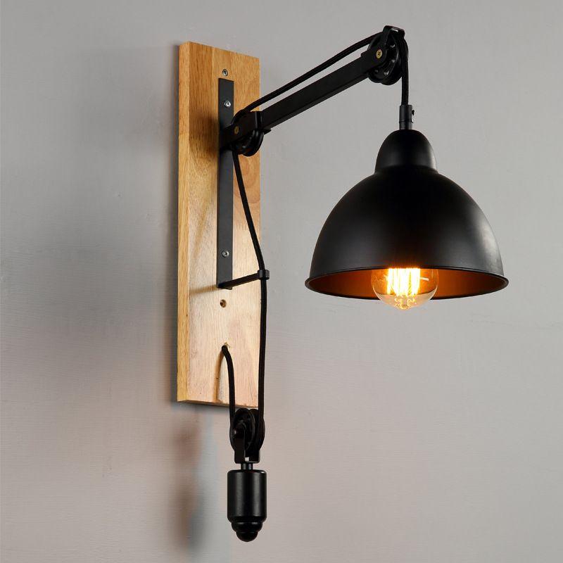 Vintage Appliques Murales E Loft Fer Lampe De Mur En Bois Rétro - Applique salle de bain bois