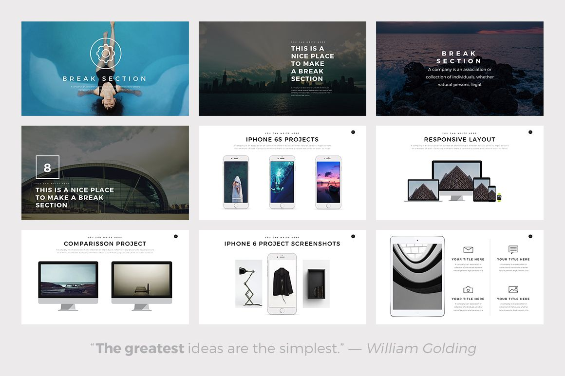 ghost minimal powerpoint templateslidepro on @creativemarket, Presentation templates
