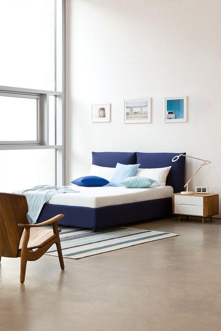 Bett olsborg dunkelblau nachttisch loca gartenstuhl jati teppich aylin fashion for home - Schlafzimmer dunkelblau ...