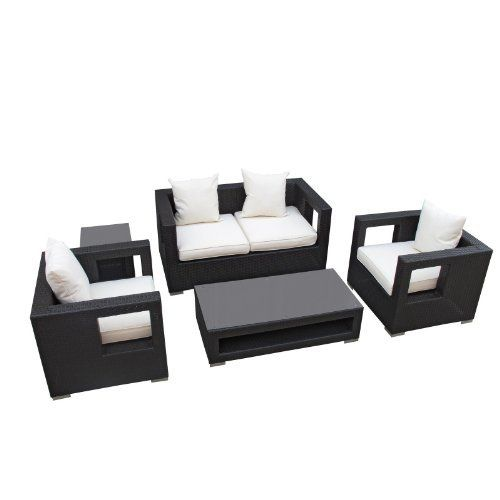 LexMod Lunar Outdoor Wicker Patio 5 Piece Sofa Set in Espresso with White Cushions by LexMod. $1199.00. Water and uv resistant with machine washable cushion covers and easy to clean tempered glass top. Set includes: coffee table (1): 47-inch l by 24-inch w by 13-inch h, side table (1): 18-inch l by 18-inch w by 18-inch h, loveseat (1): 59-inch l by 33-inch w by 28-inch h, armchair (2): 33-inch l by 31-inch w by 28-inch h. Ships Pre-Assembled. Made of all weather ...