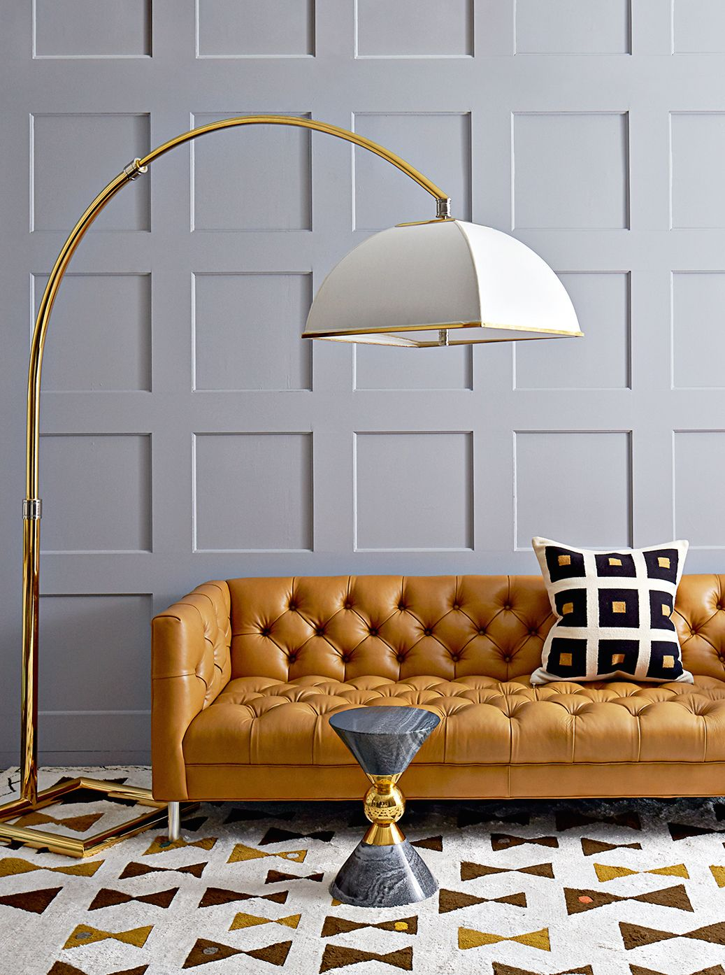living room ideas with leather furniture%0A Grey panelled walls and tan leather sofa  Find this Pin and more on Living  Rooms