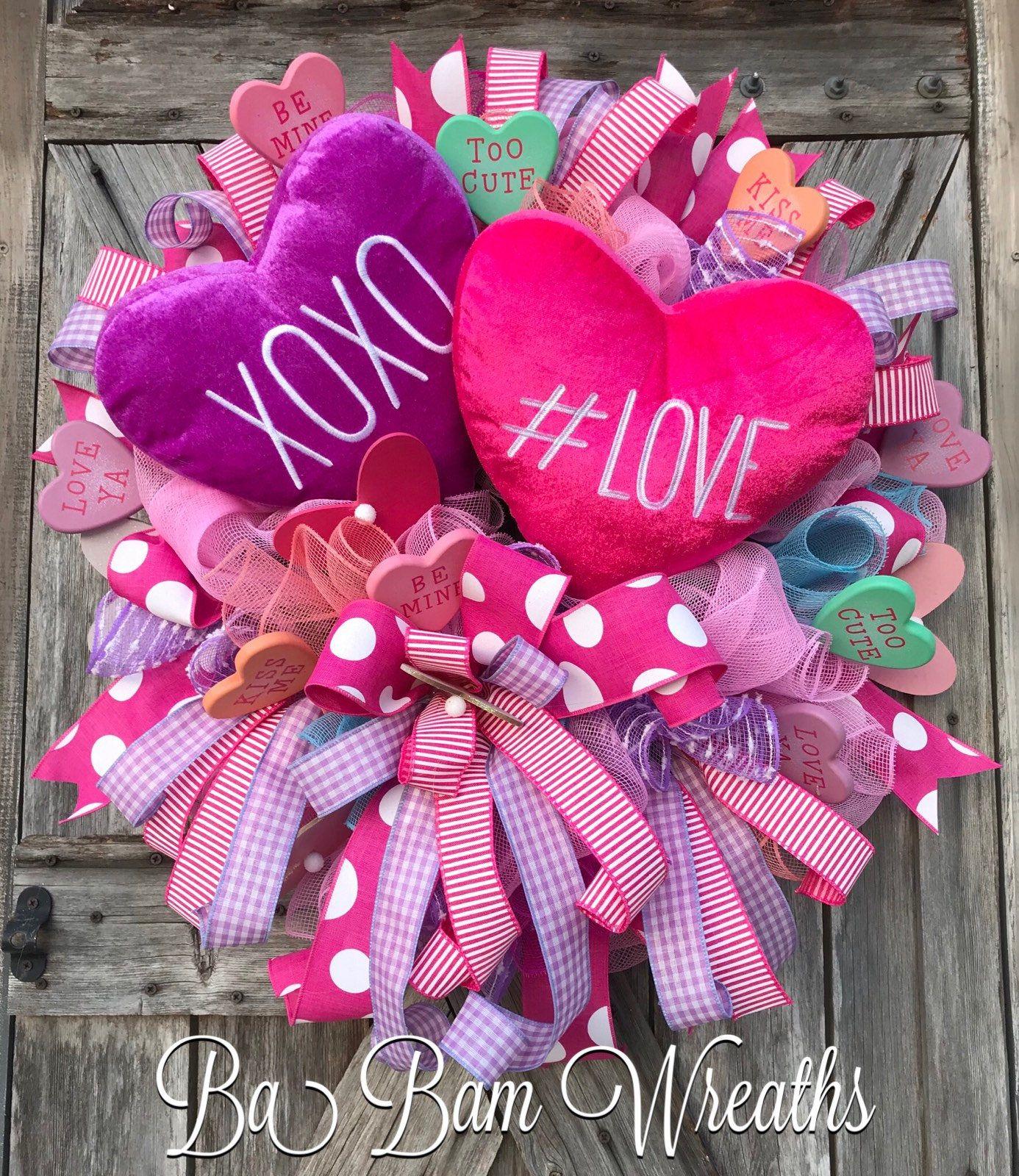 Valentine Wreath Valentine Decor Valentine Door Welcome