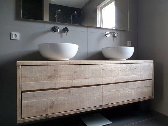 Afbeeldingsresultaat voor badkamer betoncire tegels hout