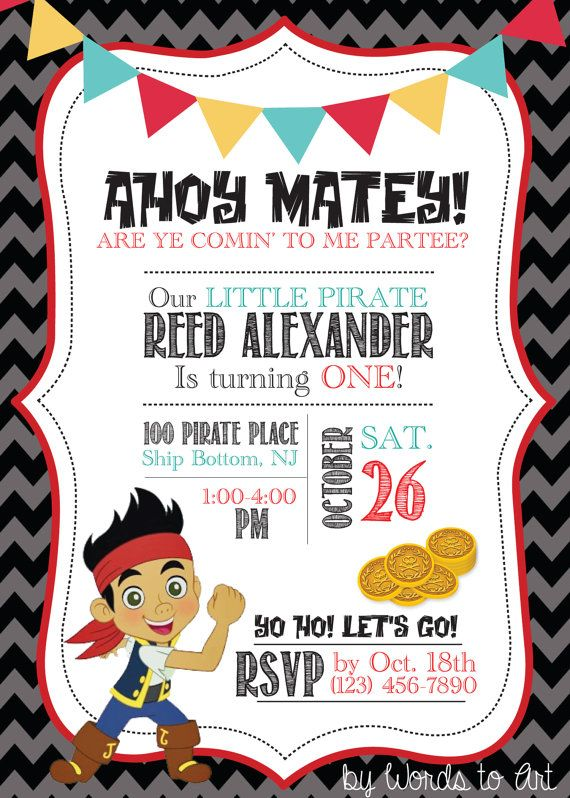 CUSTOM Jake and the Neverland Pirate Birthday by WordsToArt 900 – Princess and Pirate Birthday Invitations