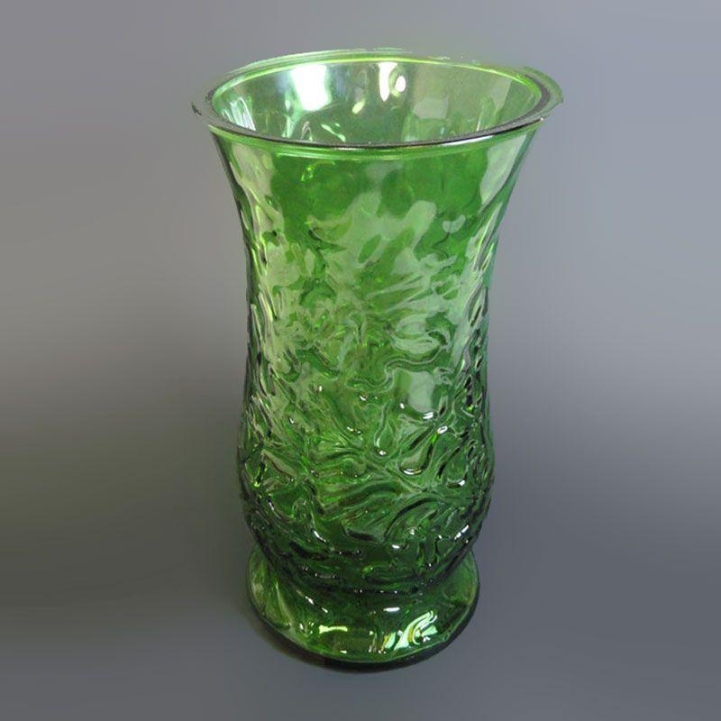Green Glass Vintage Flower Vase With Leaf Design Vases And Crocks