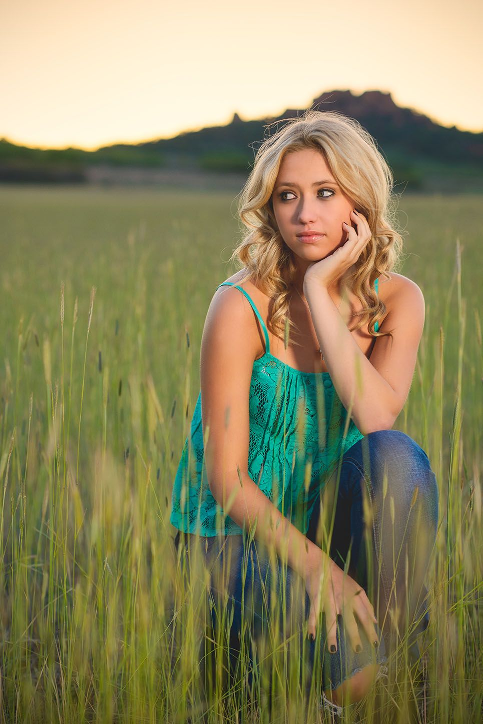 Senior Portrait session: Long Grass: Green top