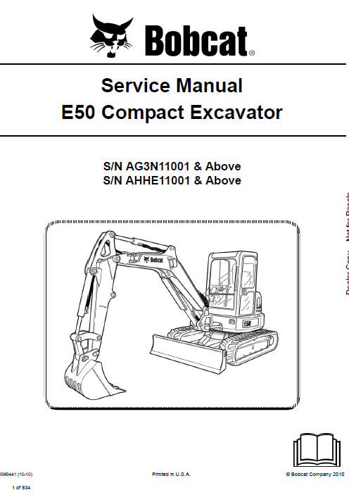 Bobcat E50 Compact Excavator Service Manual Repair Manuals Operation And Maintenance Excavator