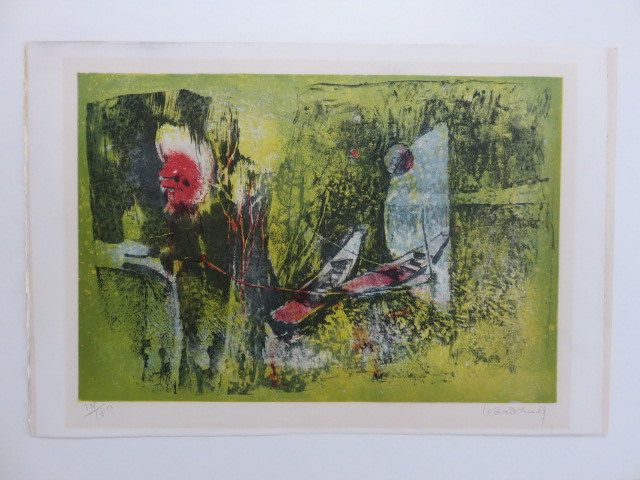Mid-Century Modern Signed Abstract Lithograph Numbered 121/180. by FLORIDAMODERN on Etsy