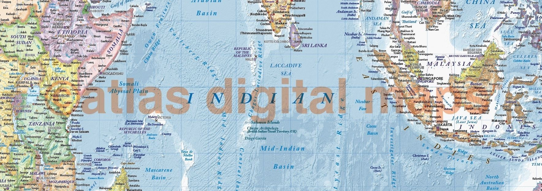 Political and ocean relief map of East Africa Malaysia Indonesia