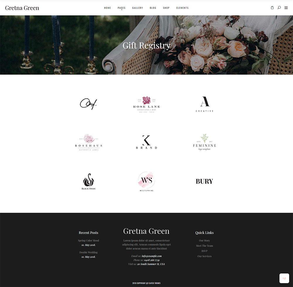 Gretna Green Gift Registry Green Gifts Wedding Website Wedding Organization